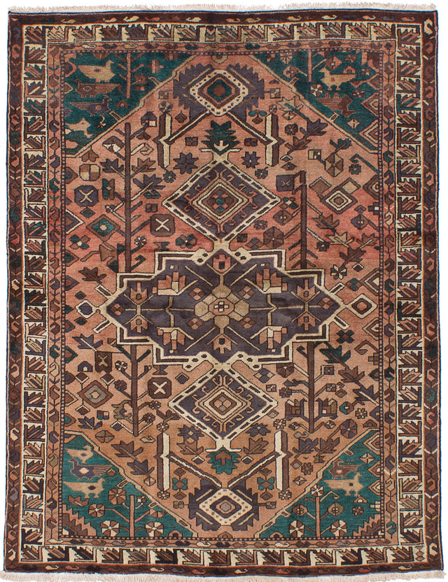 Hand-knotted  Bordered  Vintage Bakhtiar Area rug  Copper 5.1 x 6.9