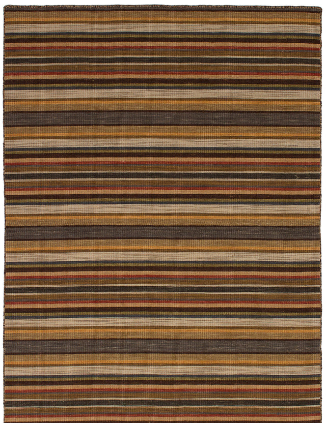 Flat-weave Indian Carved  Stripes Manhattan Area rug  Brown, Grey 4.7 x 6.8
