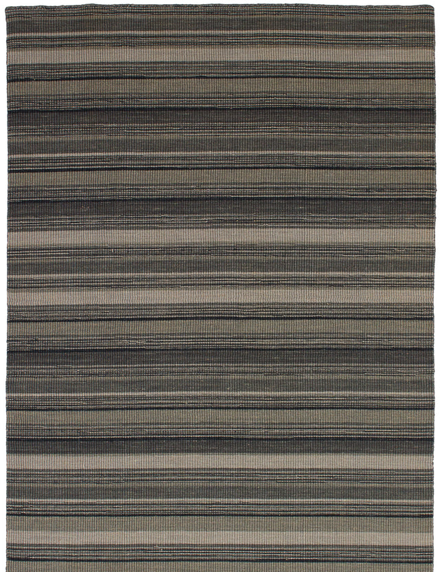 Flat-weave Indian Carved  Stripes Manhattan Area rug  Grey 4.7 x 6.6