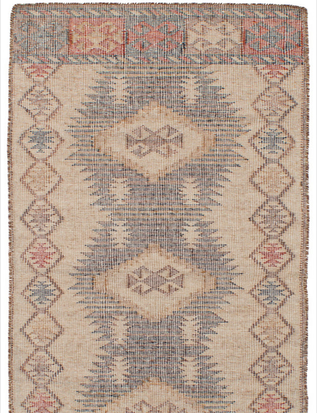Flat-weave Turkish Bordered  Transitional Kozak-17143 Runner rug  Brown, Cream 2.6 x 8