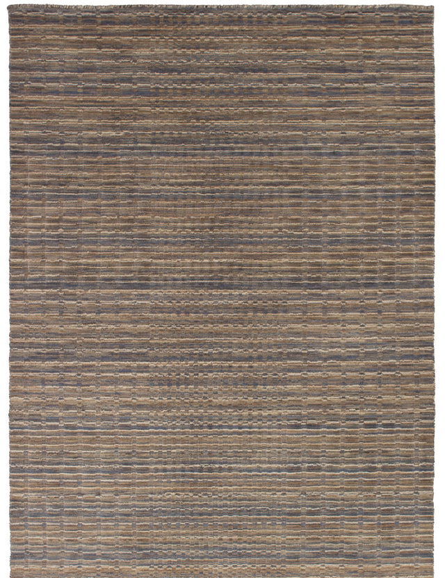Hand-knotted Indian Carved  Stripes Luribaft-Gabbeh-Riz Area rug  Grey, Tan 4.1 x 7.11