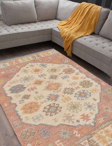 Flat-weave Turkish Bordered  Transitional Kozak-17133 Area rug  Cream, Red 8 x 10