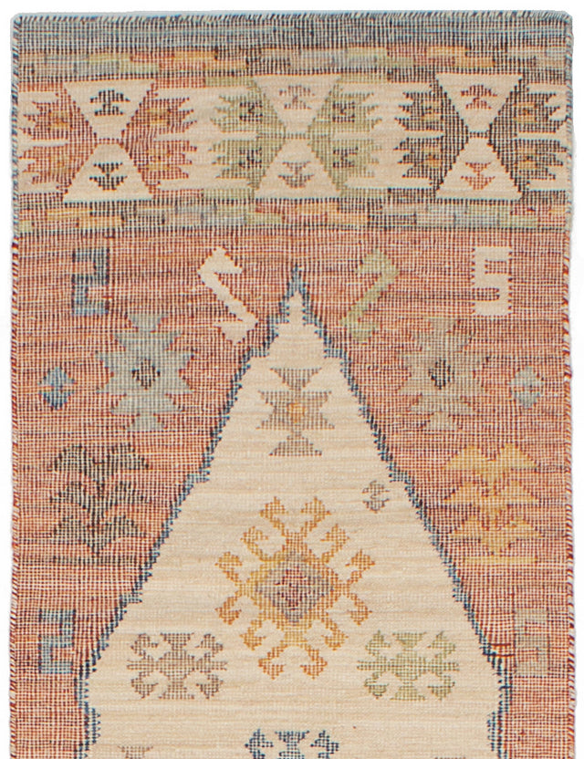 Flat-weave Turkish Bordered  Transitional Kozak-17133 Runner rug  Cream, Red 2.6 x 10