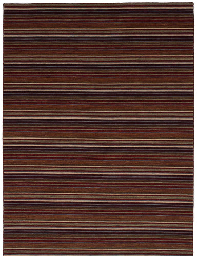 Flat-weave Indian Flat-weaves & Kilims  Transitional Manhattan Area rug  Copper, Dark Red 5.7 x 7.1
