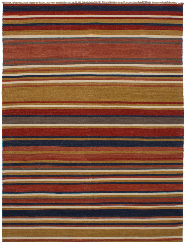 Flat-weave Turkish Flat-weaves & Kilims  Tribal Izmir-FW Area rug  Dark Copper, Light Brown 8 x 11