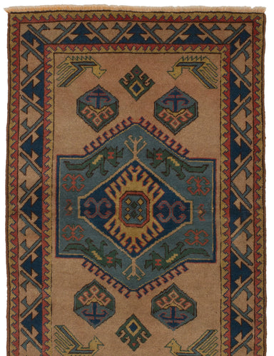 Hand-knotted Turkish Bordered  Vintage Antique-Shiravan Area rug  Tan, Turquoise 3.9 x 5.1