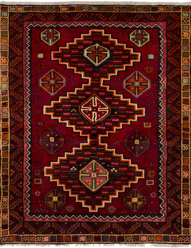 Hand-knotted  Bordered  Persian Shiraz-Qashqai Area rug  Dark Red 4.1 x 6.1