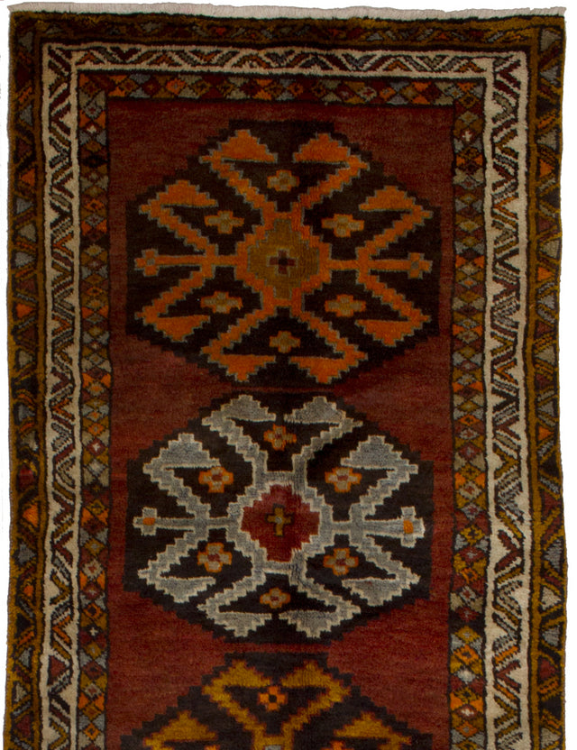Hand-knotted  Bordered  Vintage Persian-Vintage Runner rug  Dark Red 3.2 x 12.4