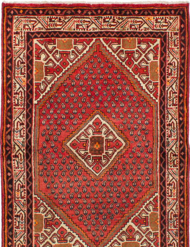 Hand-knotted  Bordered  Traditional Arak Area rug  Red 4.2 x 6.3