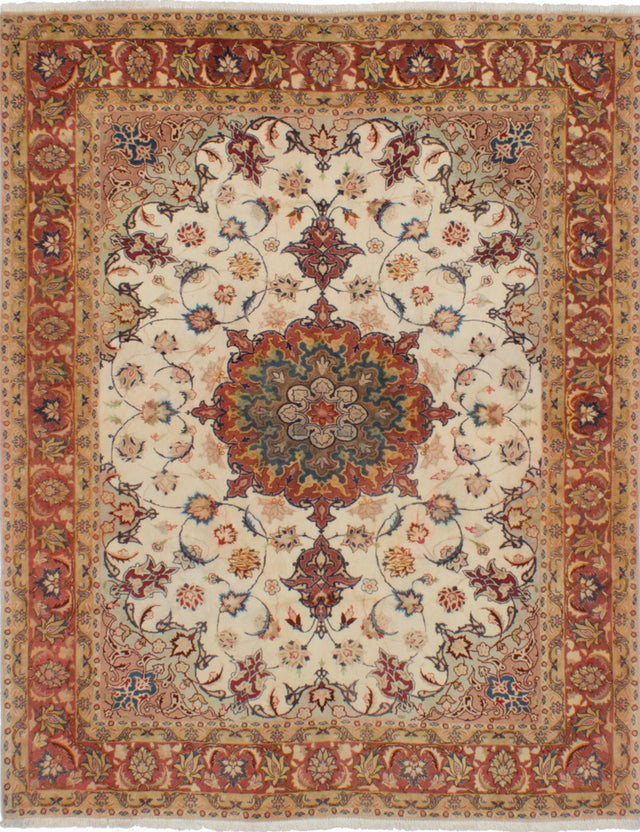 Hand-knotted  Bordered  Traditional Tabriz-50L Area rug  Cream 5 x 6.3
