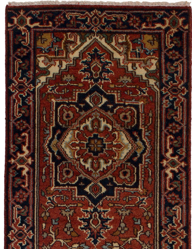 Hand-knotted Indian Bordered  Traditional Serapi-Heritage Runner rug  Red 2.7 x 12.6