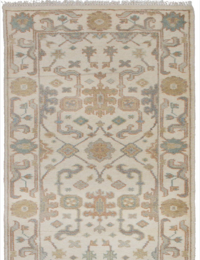 Hand-knotted Indian Bohemian  Traditional Royal-Ushak Runner rug  Cream 2.6 x 11.11