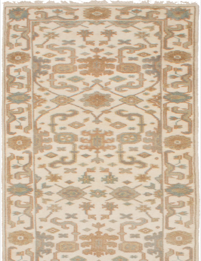 Hand-knotted Indian Bohemian  Traditional Royal-Ushak Runner rug  Cream 2.5 x 11.9