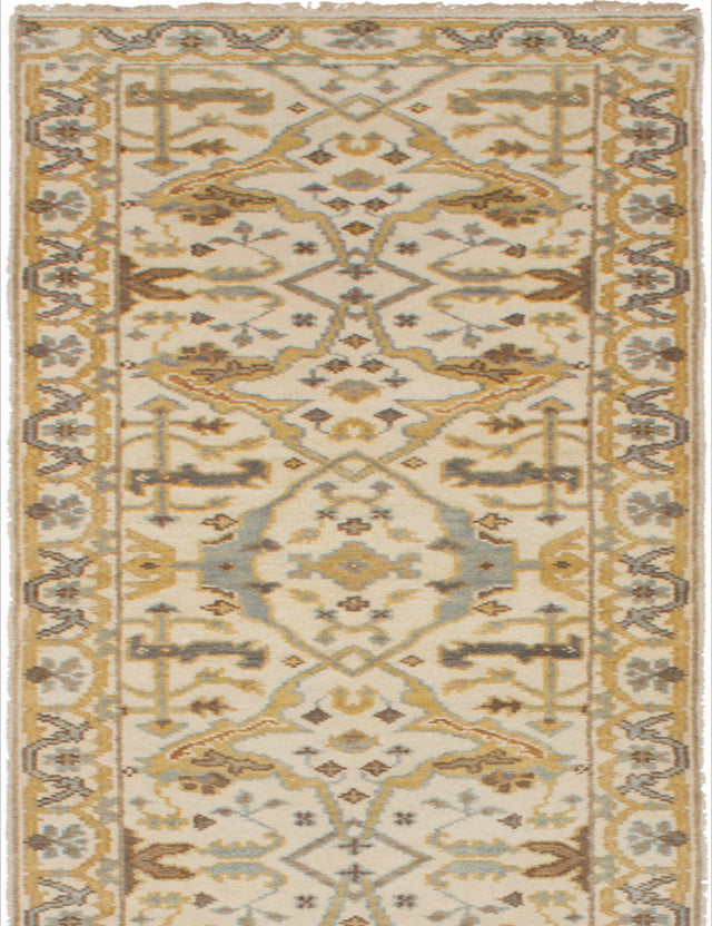 Hand-knotted Indian Bohemian  Traditional Royal-Ushak Runner rug  Cream 2.8 x 15.9