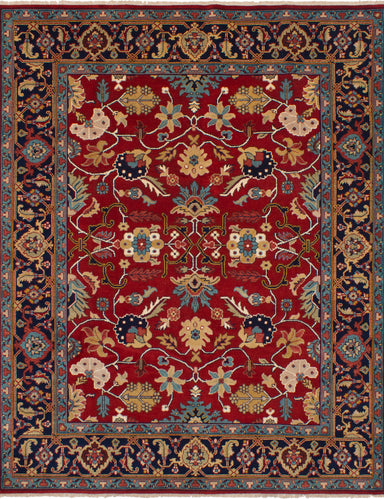 Hand-knotted Indian Bohemian  Traditional Serapi-Heritage Area rug  Red 8.1 x 10.2