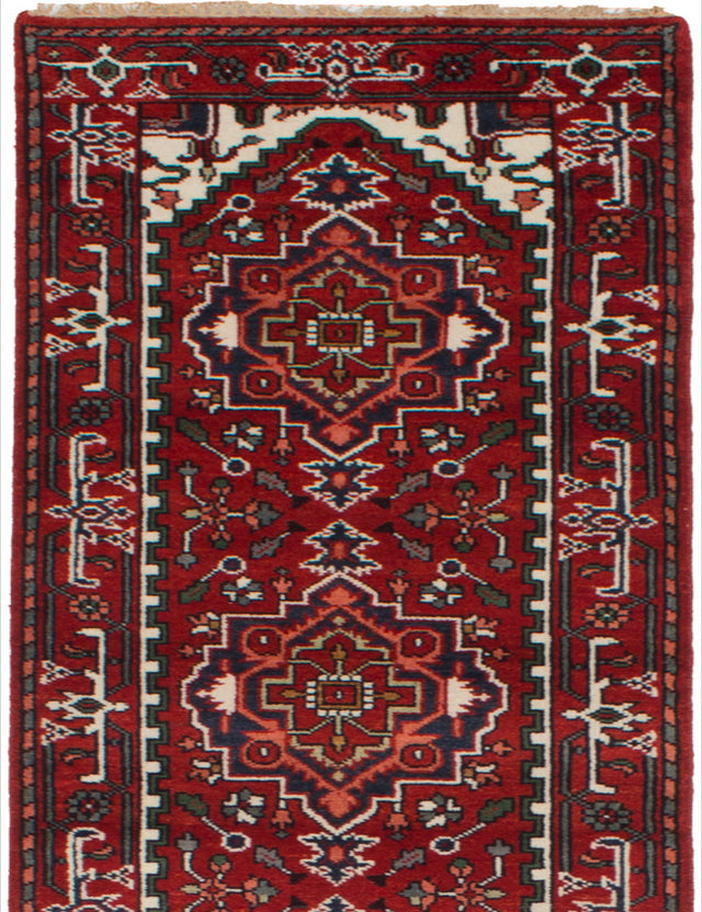 Hand-knotted Indian Bordered  Traditional Serapi-Heritage Runner rug  Red 2.7 x 15.7