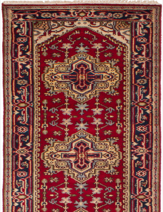 Hand-knotted Indian Bordered  Traditional Serapi-Heritage Runner rug  Red 2.7 x 16.2