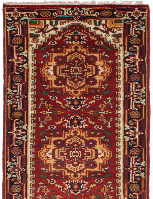 Hand-knotted Indian Bordered  Traditional Serapi-Heritage Runner rug  Dark Red 2.6 x 15.9