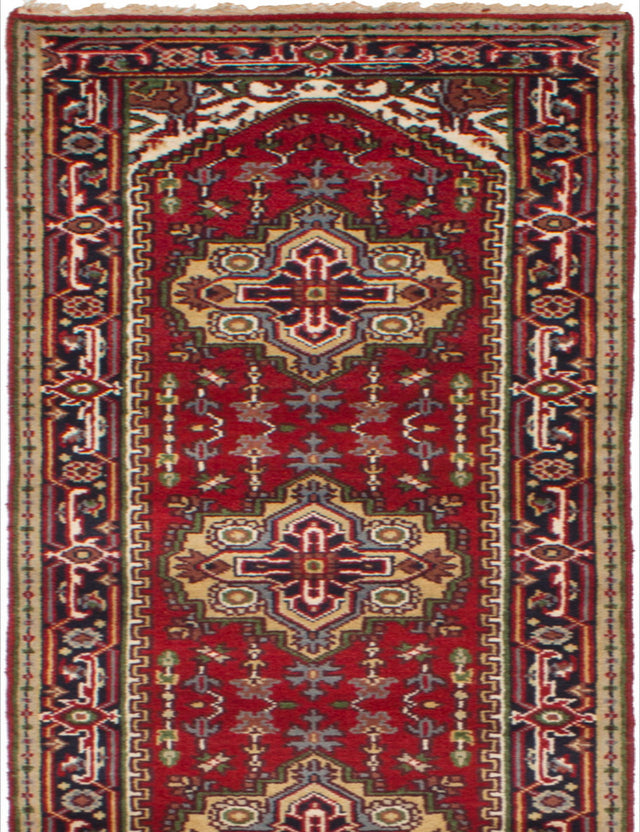Hand-knotted Indian Bordered  Traditional Serapi-Heritage Runner rug  Red 2.7 x 14.2