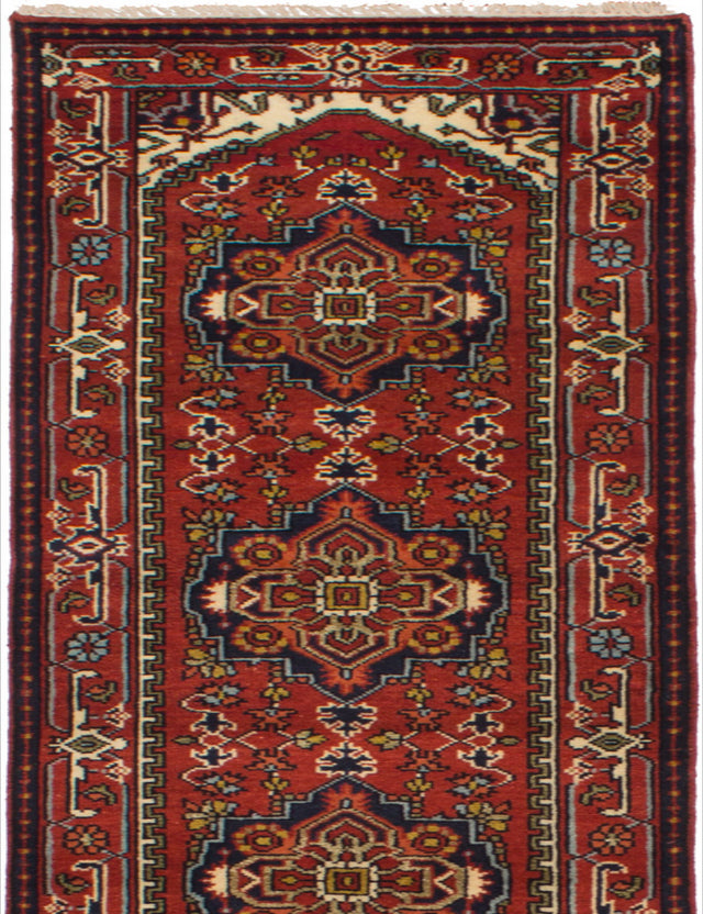 Hand-knotted Indian Bordered  Traditional Serapi-Heritage Runner rug  Dark Red 2.7 x 15.9