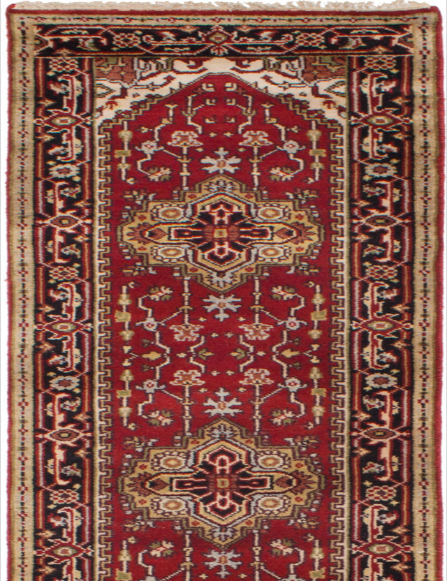 Hand-knotted Indian Bordered  Traditional Serapi-Heritage Runner rug  Red 2.7 x 15.1