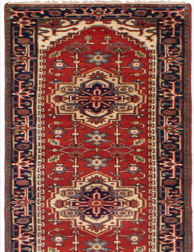 Hand-knotted Indian Bordered  Traditional Serapi-Heritage Runner rug  Red 2.6 x 15.1