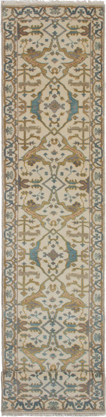 Hand-Knotted Area rug Bohemian, Bordered, Traditional Ivory