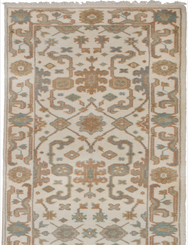 Hand-knotted Indian Bohemian  Traditional Royal-Ushak Runner rug  Cream 2.6 x 11.7