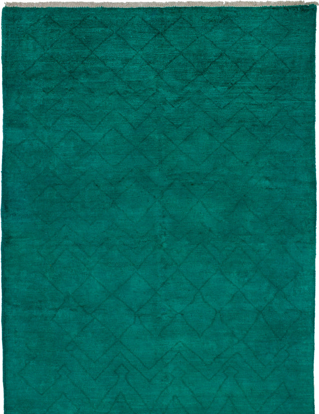 Hand-knotted Indian Contemporary  Transitional Vibrance Area rug  Teal 6.3 x 9.1