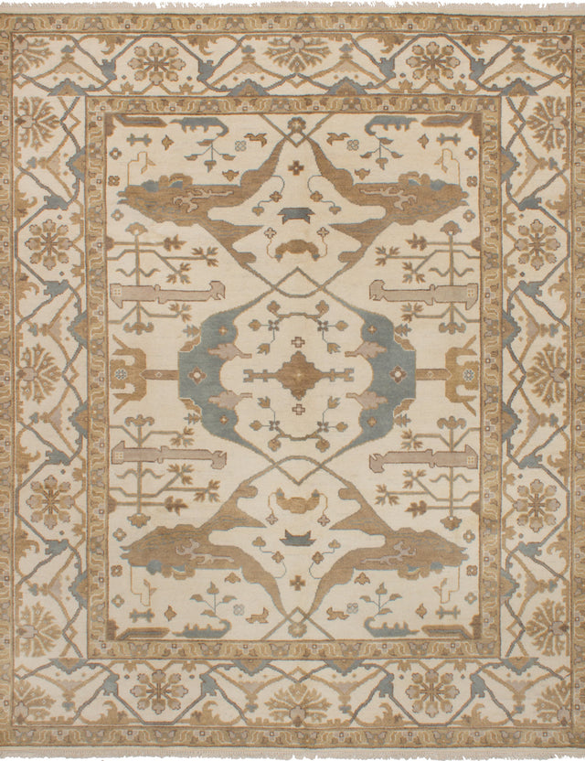 Hand-knotted Indian Bohemian  Traditional Royal-Ushak Area rug  Cream 8.3 x 9.1