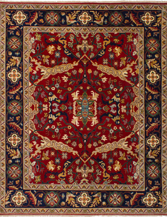 Hand-knotted Indian Bohemian  Traditional Serapi-Heritage Area rug  Red 7.1 x 9.9