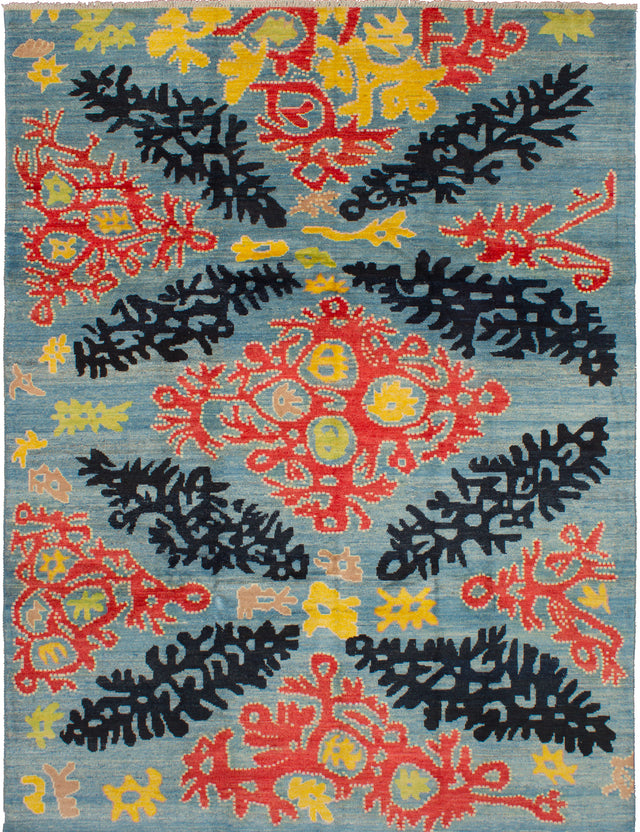 Hand-knotted Indian Contemporary  Transitional Shalimar Area rug  Light Blue  12.1 x 9.3