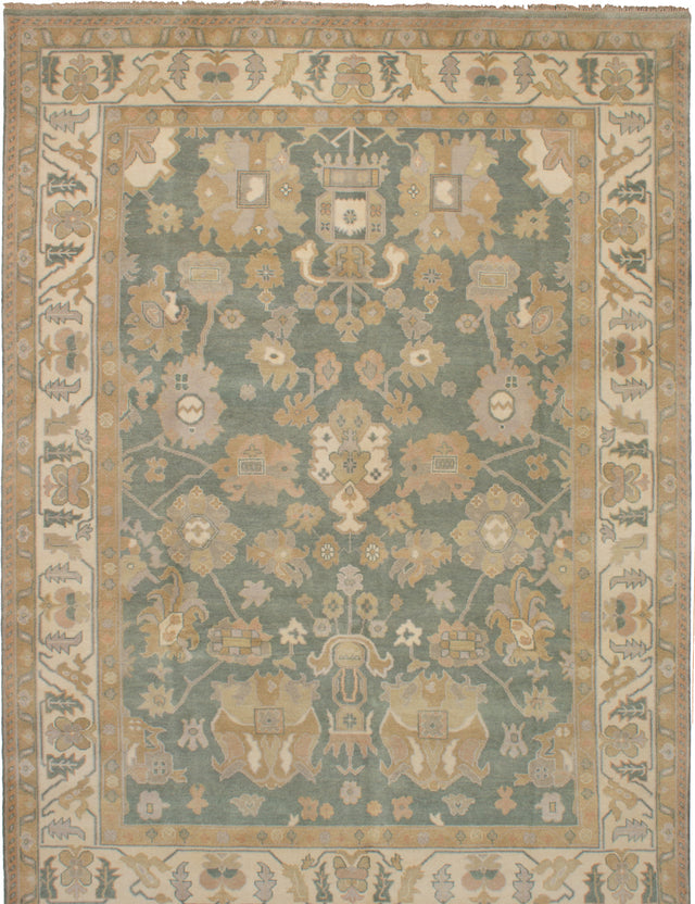 Hand-knotted Indian Bohemian  Traditional Royal-Ushak Area rug  Teal 8.9 x 12.1