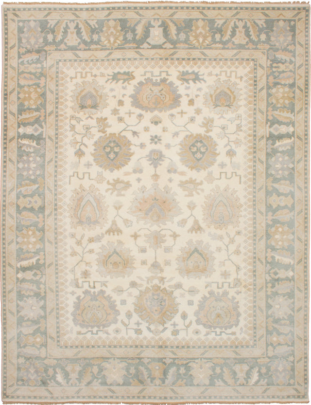 Hand-knotted Indian Bohemian  Traditional Royal-Ushak Area rug  Cream 9.3 x 11.1