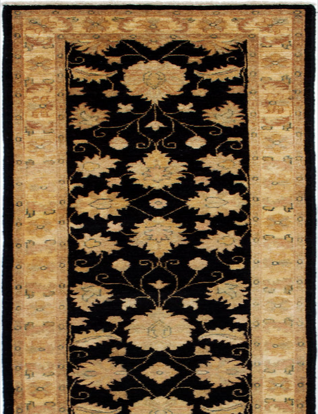 Hand-knotted Afghan Bohemian  Traditional Chobi-Finest Runner rug  Black 2.5 x 15.1
