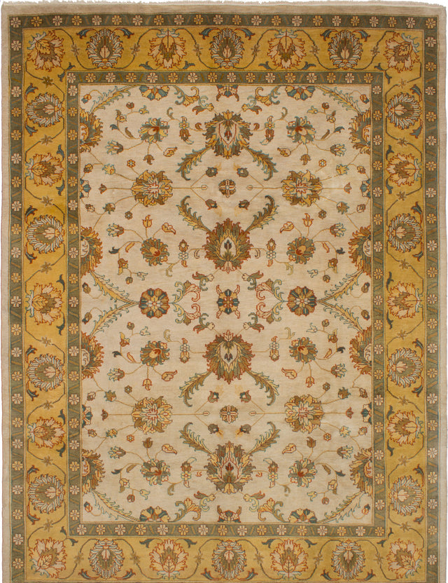 Hand-knotted Indian Bohemian  Traditional Royal-Ushak Area rug  Cream 9.6 x 12.9