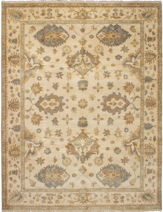 Hand-knotted Indian Bohemian  Traditional Royal-Ushak Area rug  Cream 9.3 x 11.11