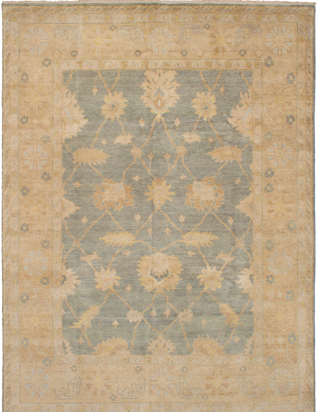 Hand-knotted Indian Bohemian  Traditional Royal-Ushak Area rug  Dark Grey 8.9 x 11.9