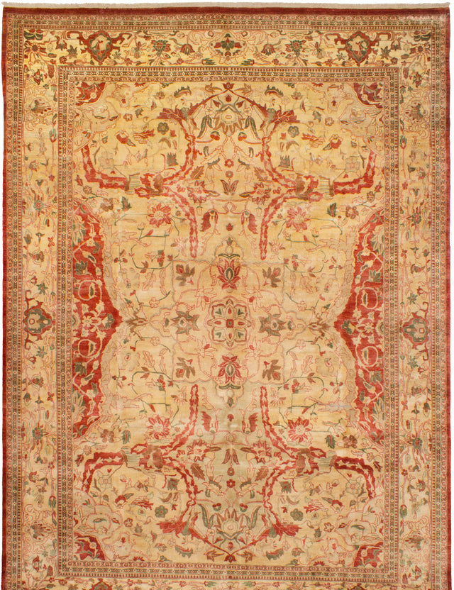 Hand-knotted Indian Bohemian  Traditional Chobi-Twisted Area rug  Ivory 9.2 x 12.11