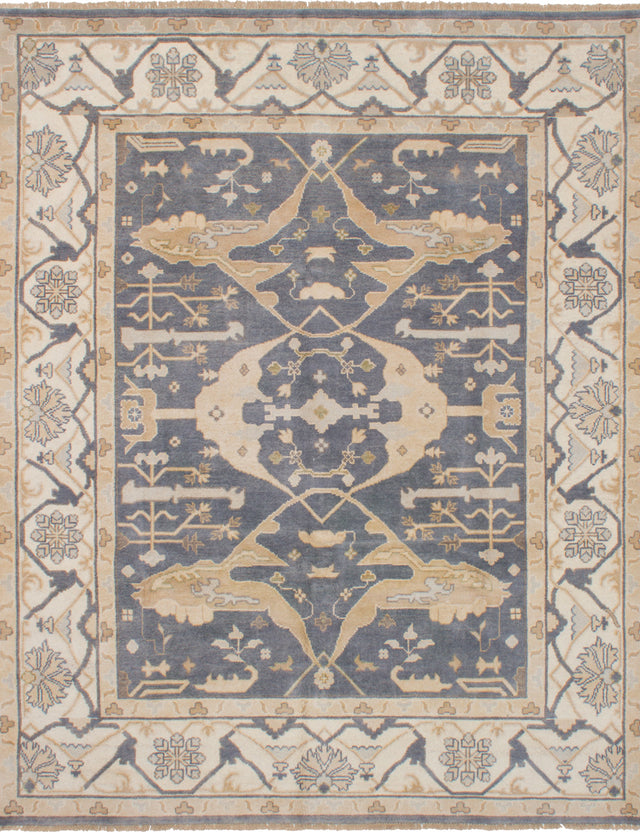 Hand-knotted Indian Bohemian  Traditional Royal-Ushak Area rug  Dark Grey 8.2 x 10.2