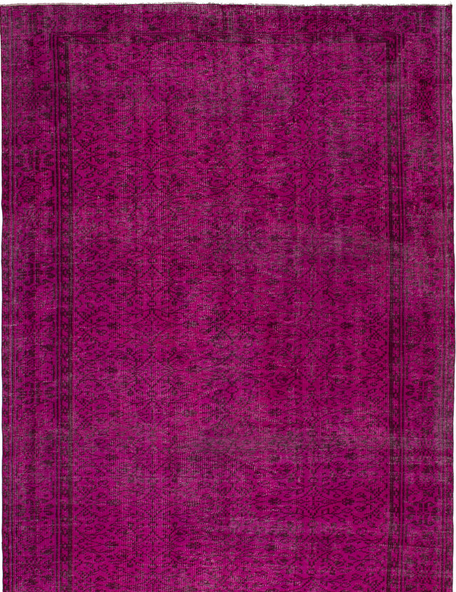 Hand-knotted Area rug Bordered, Overdyed, Vintage Pink