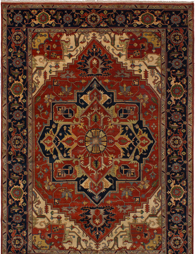 Hand-knotted Indian Bordered  Traditional Serapi-Heritage Area rug  Red 9.1 x 14