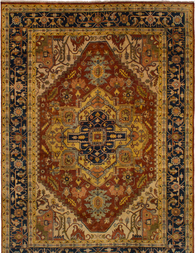 Hand-knotted Indian Bordered  Traditional Serapi-Heritage Area rug  Dark Copper 9.9 x 13.9