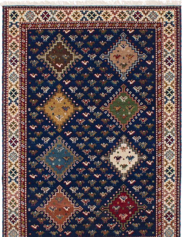 Hand-knotted Area rug Bohemian, Bordered, Geometric Blue