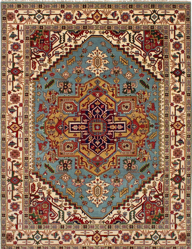Hand-knotted Indian Bohemian  Traditional Serapi-Heritage Area rug  Light Blue  9 x 12