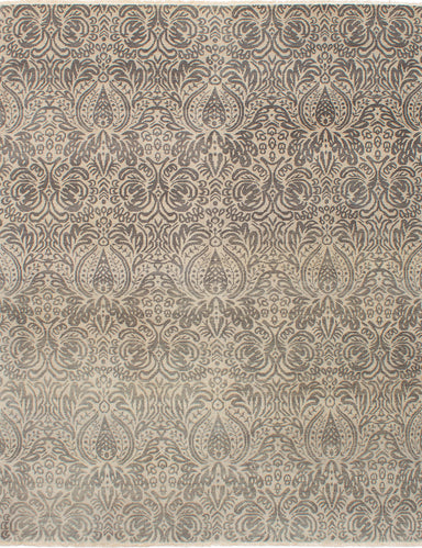 Hand-knotted Indian Casual  Transitional Finest-Ushak Area rug  Light Khaki 8 x 10