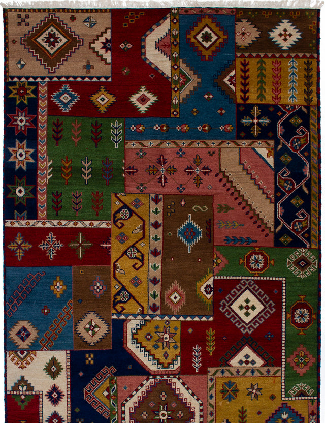 Hand-knotted Area rug Bohemian, Traditional Blue, Brown