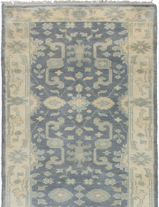 Hand-knotted Indian Bohemian  Traditional Royal-Ushak Runner rug  Grey 2.7 x 15.6