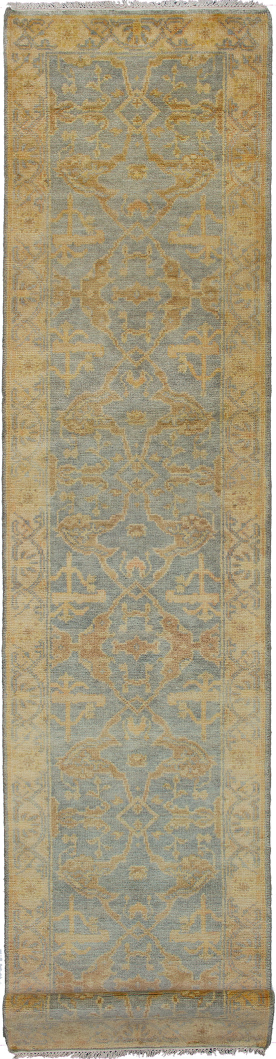 Hand-knotted Indian Bohemian  Traditional Royal-Ushak Runner rug  Grey 2.9 x 11.1
