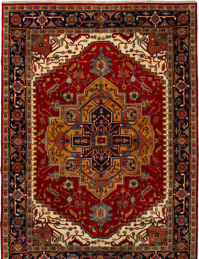 Hand-knotted Indian Bohemian  Traditional Serapi-Heritage Area rug  Red 10.2 x 14